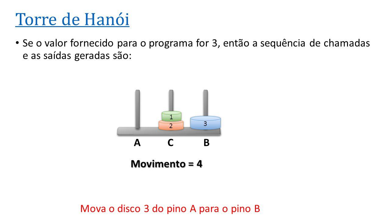 ACB Torre de Hanói • Se o valor fornecido para o programa for 3, então a sequência de chamadas e as saídas geradas são: 3 2 1 Movimento = 4 Mova o dis