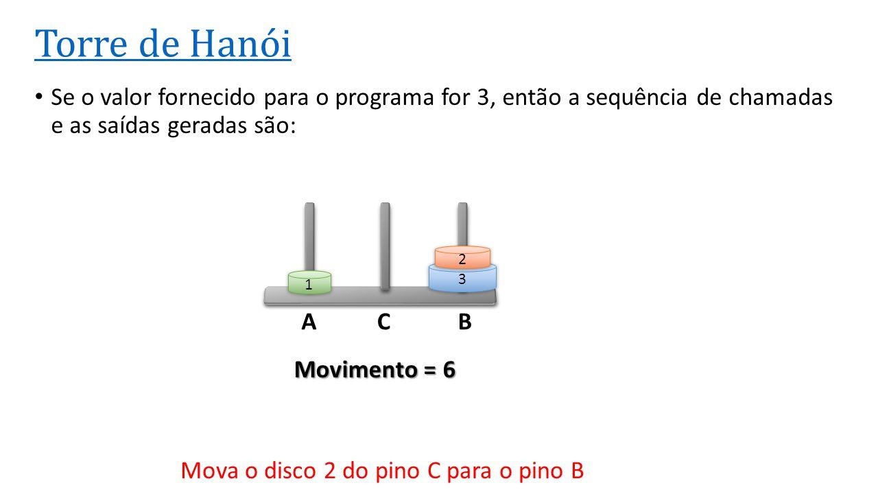ACB Torre de Hanói • Se o valor fornecido para o programa for 3, então a sequência de chamadas e as saídas geradas são: 3 2 1 Movimento = 6 Mova o dis