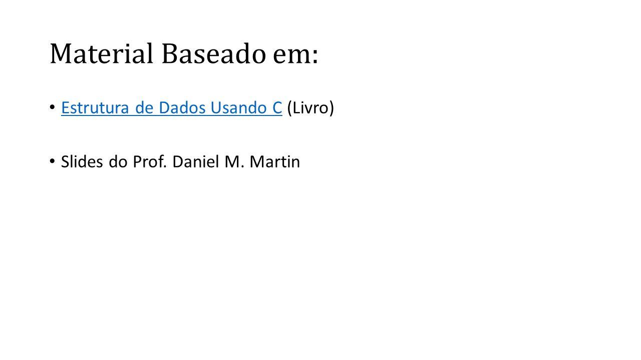 Material Baseado em: • Estrutura de Dados Usando C (Livro) Estrutura de Dados Usando C • Slides do Prof. Daniel M. Martin