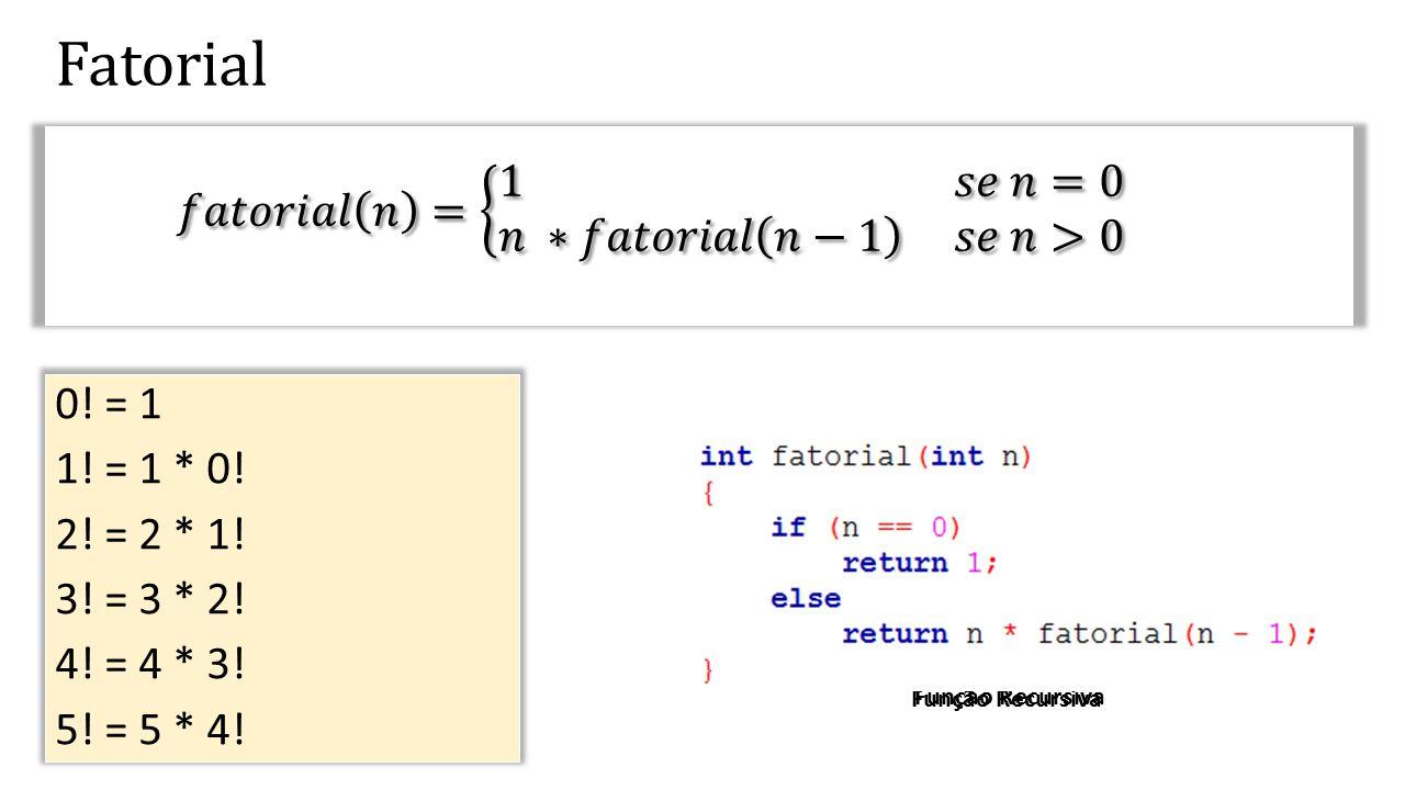 24 Recursão e a Pilha de Execução (stack) X Retorno int x = fatorial(4);