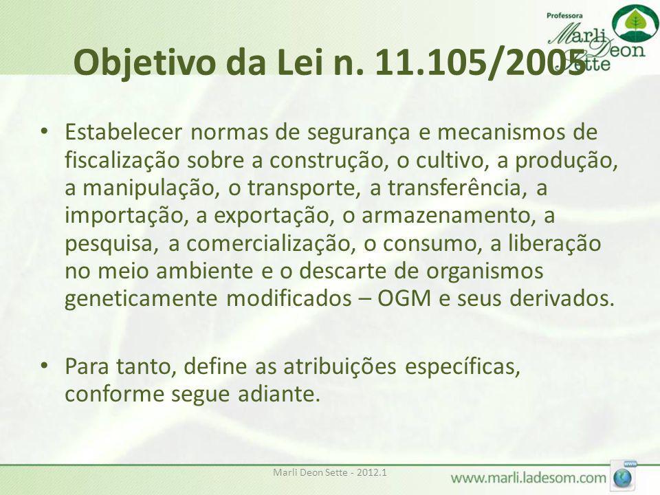 Marli Deon Sette - 2012.1 Objetivo da Lei n. 11.105/2005 • Estabelecer normas de segurança e mecanismos de fiscalização sobre a construção, o cultivo,
