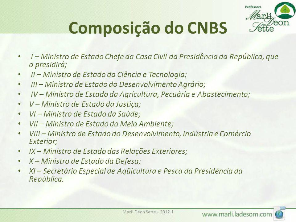 Marli Deon Sette - 2012.1 Composição do CNBS • I – Ministro de Estado Chefe da Casa Civil da Presidência da República, que o presidirá; • II – Ministr