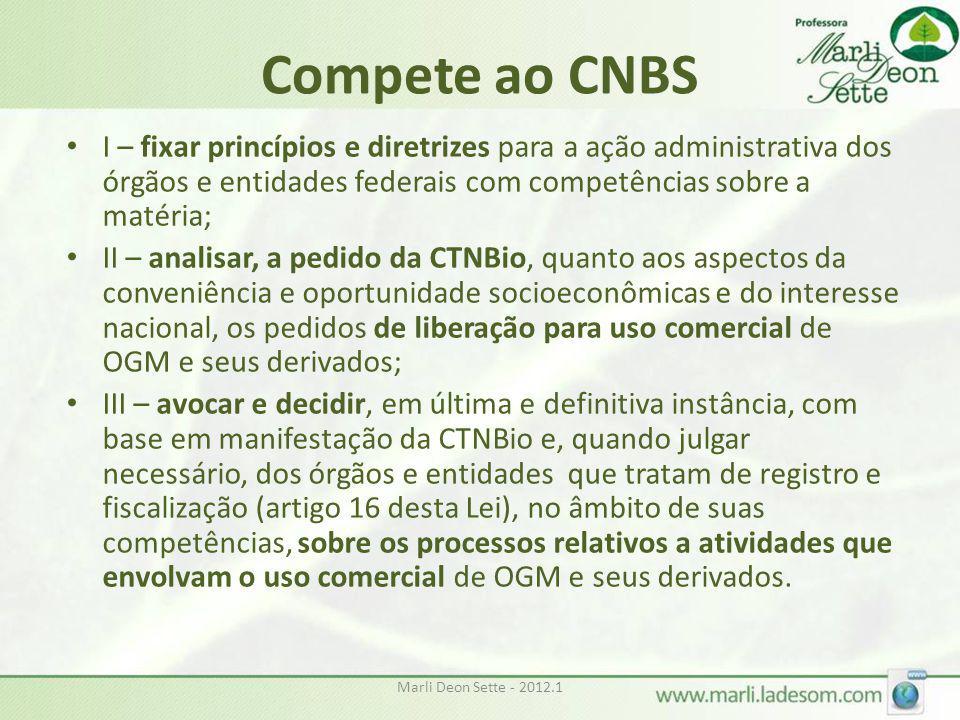 Marli Deon Sette - 2012.1 Compete ao CNBS • I – fixar princípios e diretrizes para a ação administrativa dos órgãos e entidades federais com competênc