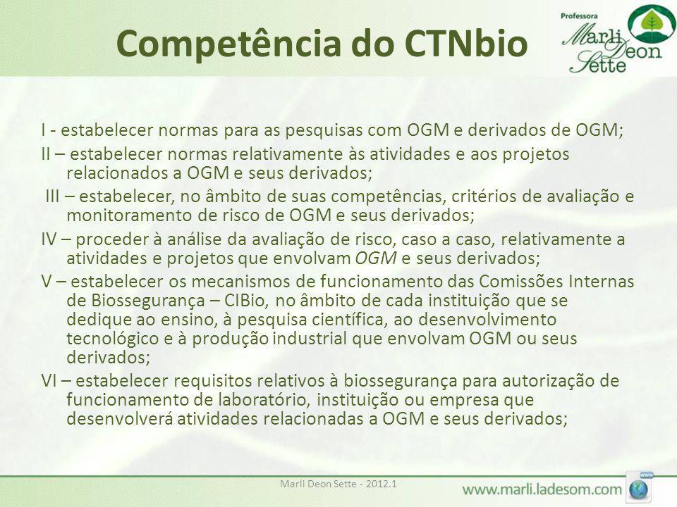 Marli Deon Sette - 2012.1 Competência do CTNbio I - estabelecer normas para as pesquisas com OGM e derivados de OGM; II – estabelecer normas relativam