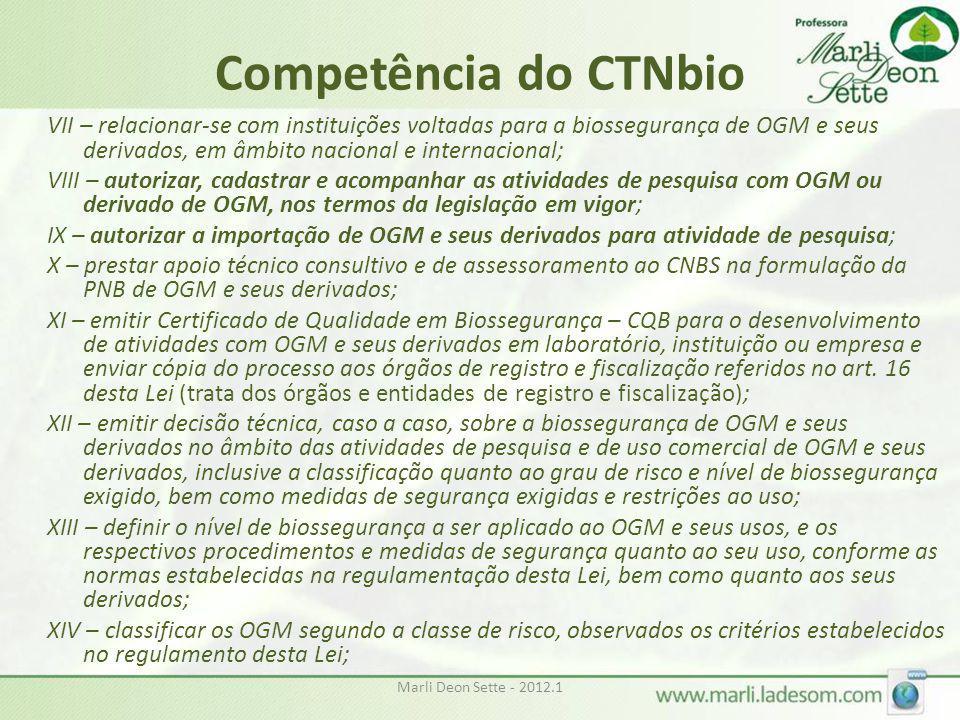 Marli Deon Sette - 2012.1 Competência do CTNbio VII – relacionar-se com instituições voltadas para a biossegurança de OGM e seus derivados, em âmbito
