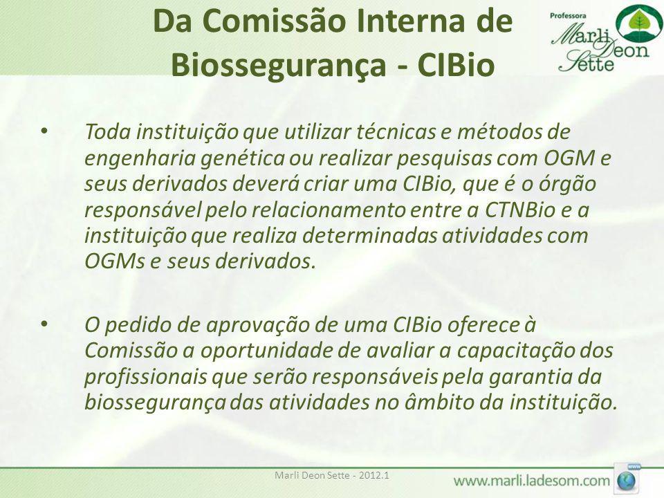 Marli Deon Sette - 2012.1 Da Comissão Interna de Biossegurança - CIBio • Toda instituição que utilizar técnicas e métodos de engenharia genética ou re