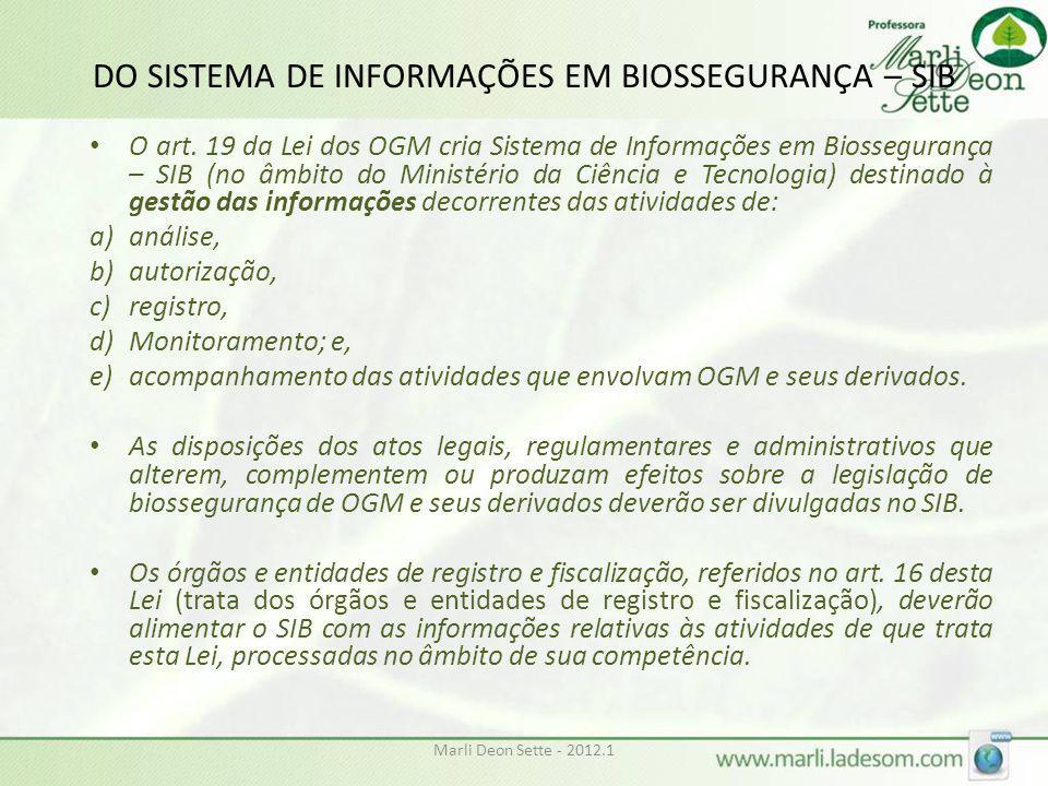Marli Deon Sette - 2012.1 DO SISTEMA DE INFORMAÇÕES EM BIOSSEGURANÇA – SIB • O art. 19 da Lei dos OGM cria Sistema de Informações em Biossegurança – S