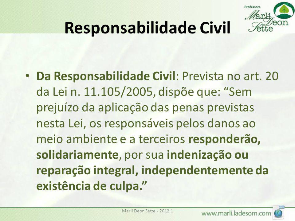 """Marli Deon Sette - 2012.1 Responsabilidade Civil • Da Responsabilidade Civil: Prevista no art. 20 da Lei n. 11.105/2005, dispõe que: """"Sem prejuízo da"""