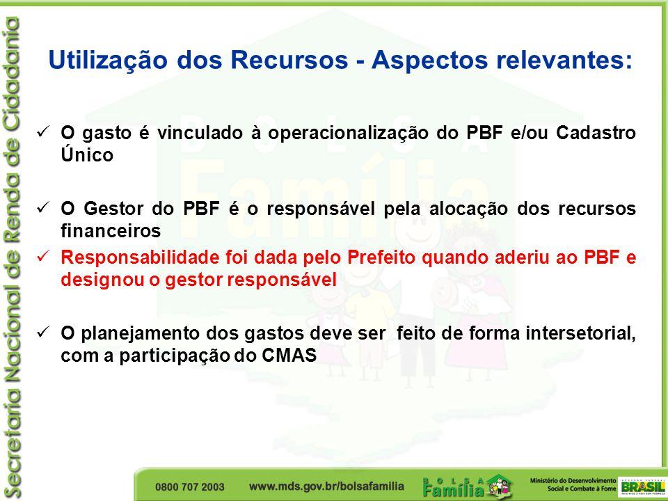 Utilização dos Recursos - Aspectos relevantes:  O gasto é vinculado à operacionalização do PBF e/ou Cadastro Único  O Gestor do PBF é o responsável