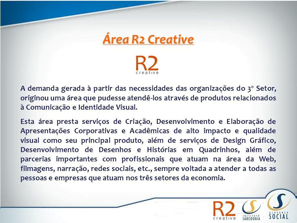 Área R2 Creative A demanda gerada à partir das necessidades das organizações do 3º Setor, originou uma área que pudesse atendê-los através de produtos