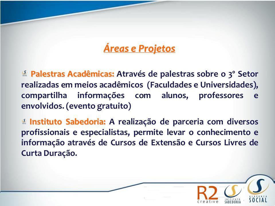 Áreas e Projetos Palestras Acadêmicas: Palestras Acadêmicas: Através de palestras sobre o 3º Setor realizadas em meios acadêmicos (Faculdades e Univer