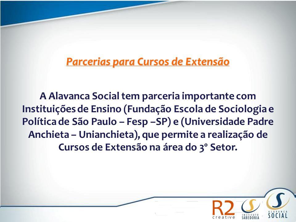 Parcerias para Cursos de Extensão A Alavanca Social tem parceria importante com Instituições de Ensino (Fundação Escola de Sociologia e Política de Sã