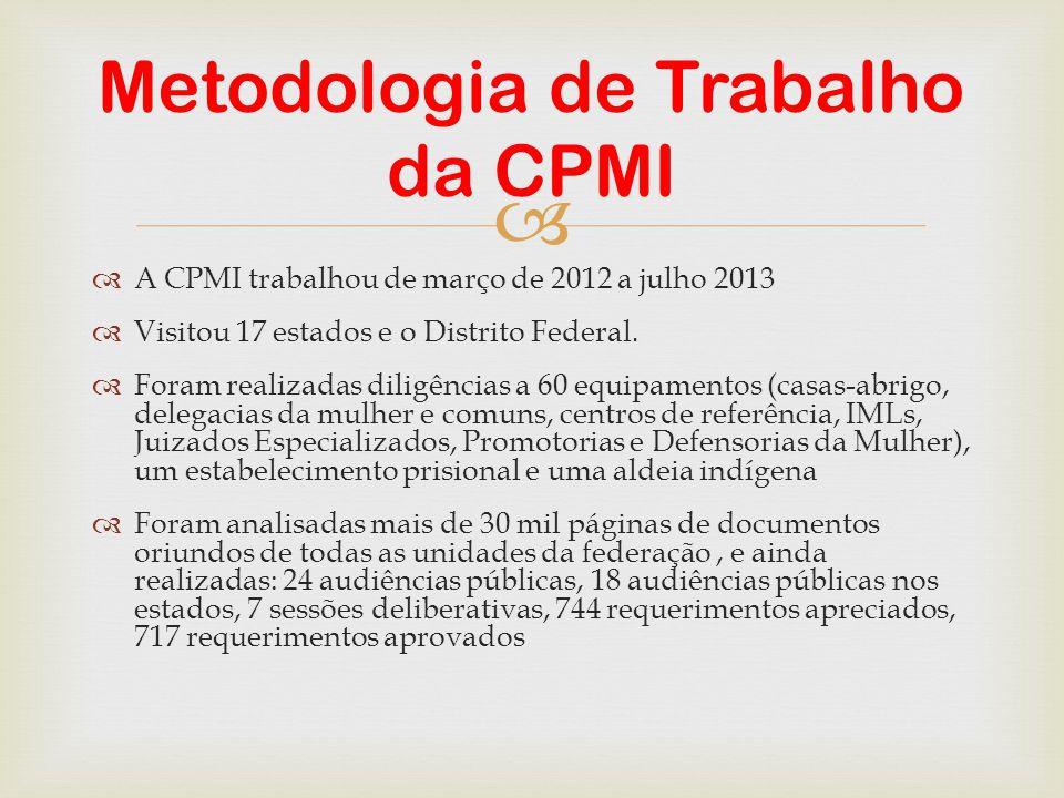   A CPMI trabalhou de março de 2012 a julho 2013  Visitou 17 estados e o Distrito Federal.  Foram realizadas diligências a 60 equipamentos (casas-