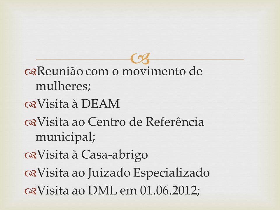   Reunião com o movimento de mulheres;  Visita à DEAM  Visita ao Centro de Referência municipal;  Visita à Casa-abrigo  Visita ao Juizado Especializado  Visita ao DML em 01.06.2012;