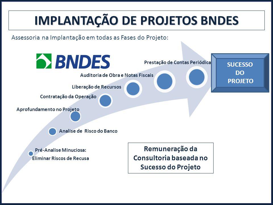 IMPLANTAÇÃO DE PROJETOS BNDES Assessoria na Implantação em todas as Fases do Projeto: Pré-Analise Minuciosa: Eliminar Riscos de Recusa Analise de Risc