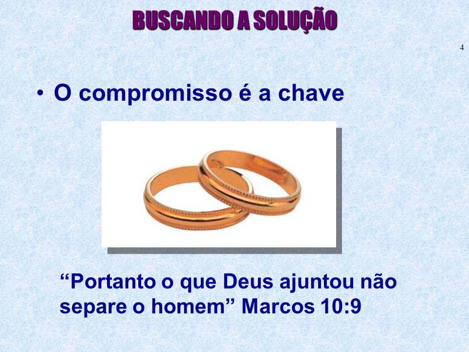 """4 BUSCANDO A SOLUÇÃO •O compromisso é a chave """"Portanto o que Deus ajuntou não separe o homem"""" Marcos 10:9"""