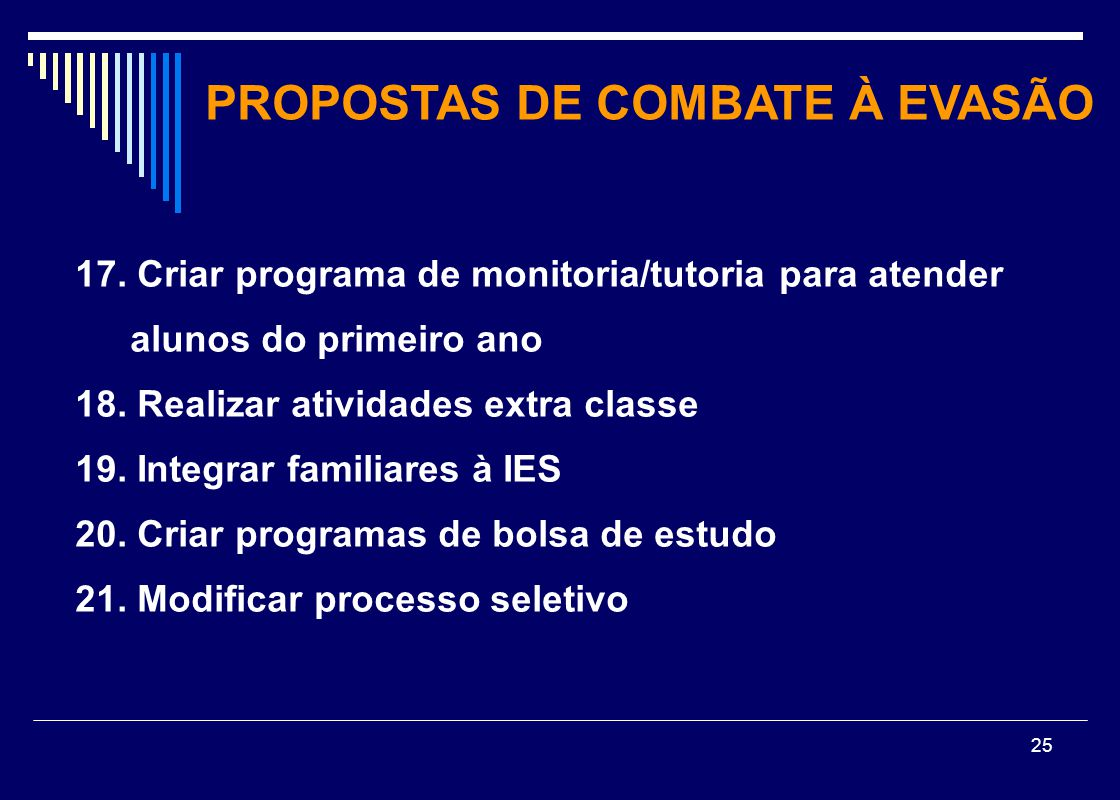 25 17. Criar programa de monitoria/tutoria para atender alunos do primeiro ano 18. Realizar atividades extra classe 19. Integrar familiares à IES 20.