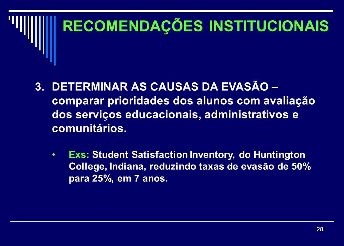 28 3.DETERMINAR AS CAUSAS DA EVASÃO – comparar prioridades dos alunos com avaliação dos serviços educacionais, administrativos e comunitários. •Exs: S