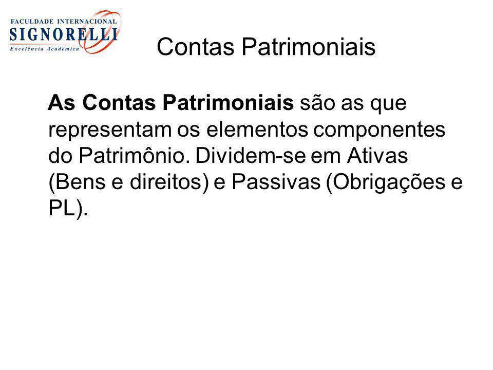 Contas Patrimoniais As Contas Patrimoniais são as que representam os elementos componentes do Patrimônio. Dividem-se em Ativas (Bens e direitos) e Pas