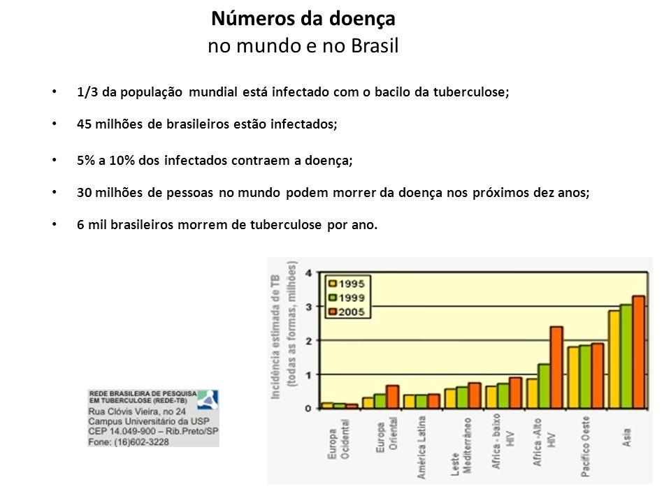 Números da doença no mundo e no Brasil • 1/3 da população mundial está infectado com o bacilo da tuberculose; • 45 milhões de brasileiros estão infect