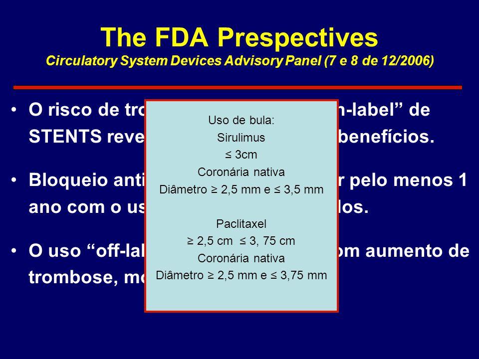 """The FDA Prespectives Circulatory System Devices Advisory Panel (7 e 8 de 12/2006) •O risco de trombose com o uso """"on-label"""" de STENTS revestidos não s"""