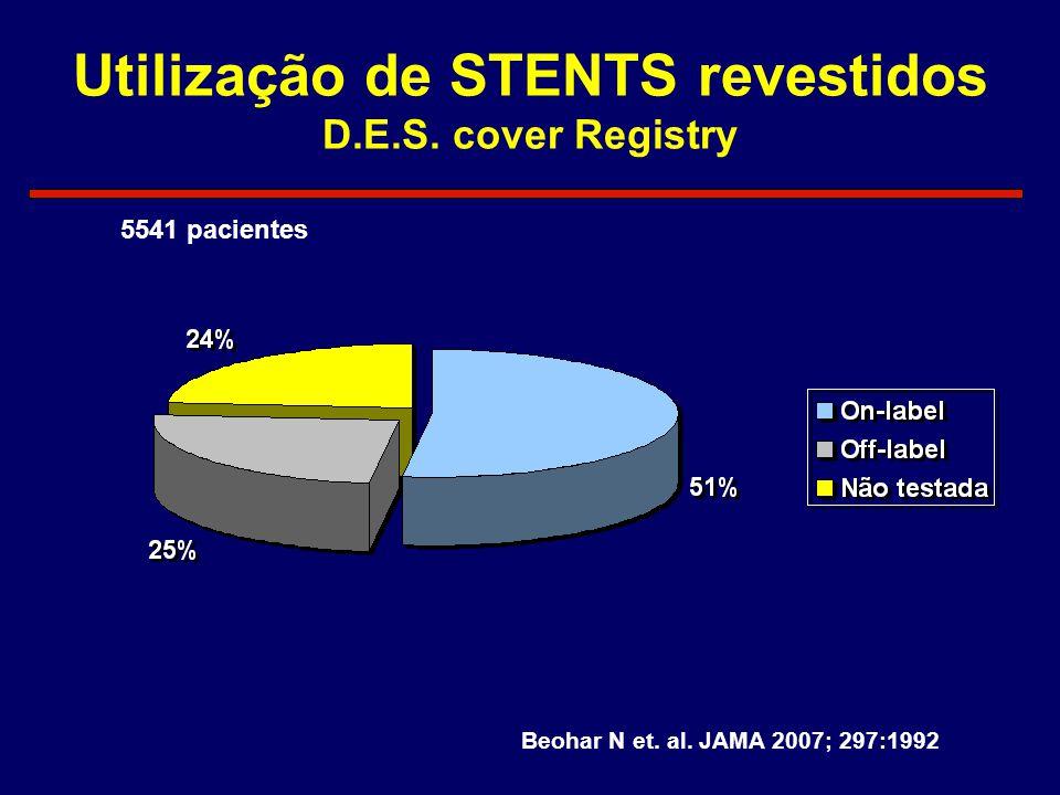 Utilização de STENTS revestidos D.E.S. cover Registry Beohar N et. al. JAMA 2007; 297:1992 5541 pacientes