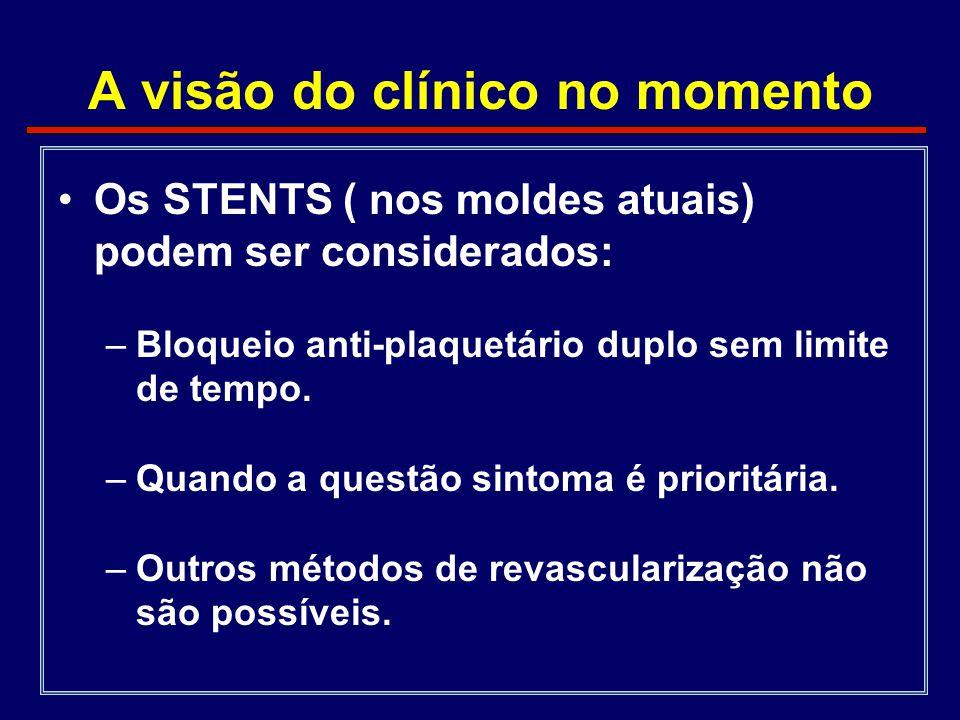 A visão do clínico no momento •Os STENTS ( nos moldes atuais) podem ser considerados: –Bloqueio anti-plaquetário duplo sem limite de tempo. –Quando a