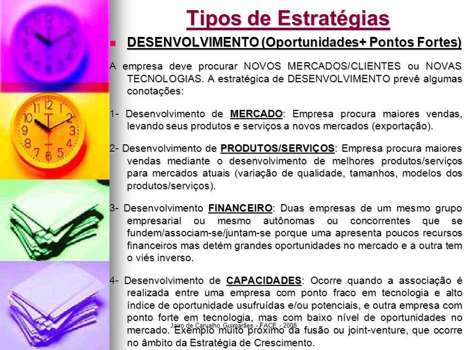 Jairo de Carvalho Guimarães - FACE - 2008 Tipos de Estratégias  DESENVOLVIMENTO (Oportunidades+ Pontos Fortes) A empresa deve procurar NOVOS MERCADOS