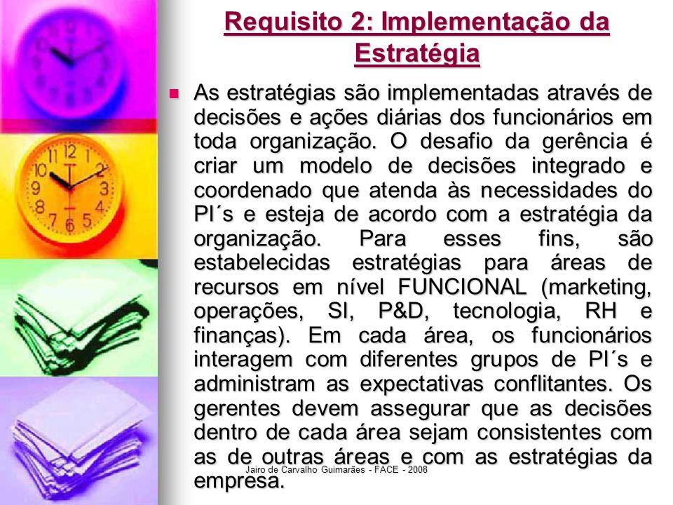 Jairo de Carvalho Guimarães - FACE - 2008 Requisito 2: Implementação da Estratégia  As estratégias são implementadas através de decisões e ações diár