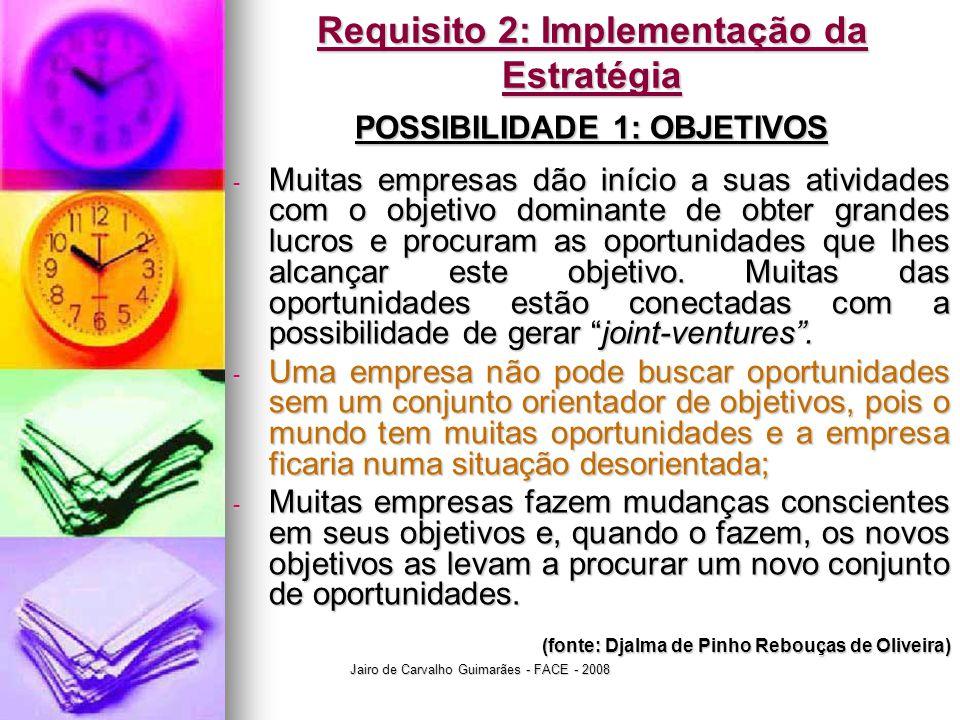 Jairo de Carvalho Guimarães - FACE - 2008 Requisito 2: Implementação da Estratégia POSSIBILIDADE 1: OBJETIVOS - Muitas empresas dão início a suas ativ