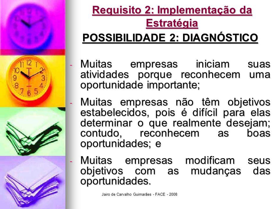 Jairo de Carvalho Guimarães - FACE - 2008 Requisito 2: Implementação da Estratégia POSSIBILIDADE 2: DIAGNÓSTICO - Muitas empresas iniciam suas ativida