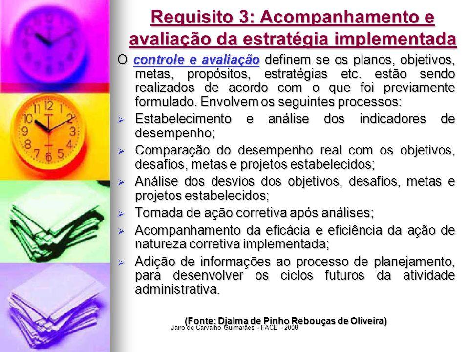 Jairo de Carvalho Guimarães - FACE - 2008 Requisito 3: Acompanhamento e avaliação da estratégia implementada O controle e avaliação definem se os plan
