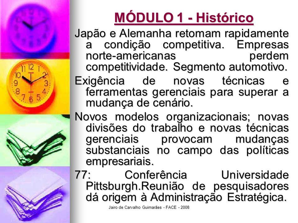 Jairo de Carvalho Guimarães - FACE - 2008 MÓDULO 1 - Histórico Japão e Alemanha retomam rapidamente a condição competitiva. Empresas norte-americanas