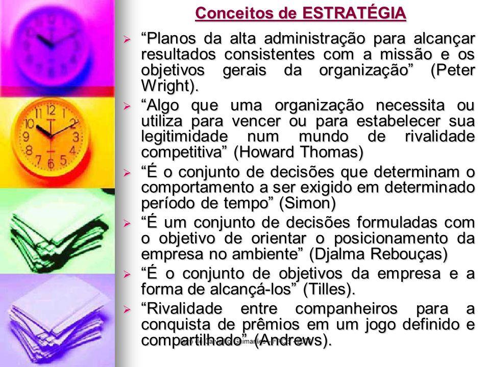 Jairo de Carvalho Guimarães - FACE - 2008 Conceitos de ESTRATÉGIA  Planos da alta administração para alcançar resultados consistentes com a missão e os objetivos gerais da organização (Peter Wright).