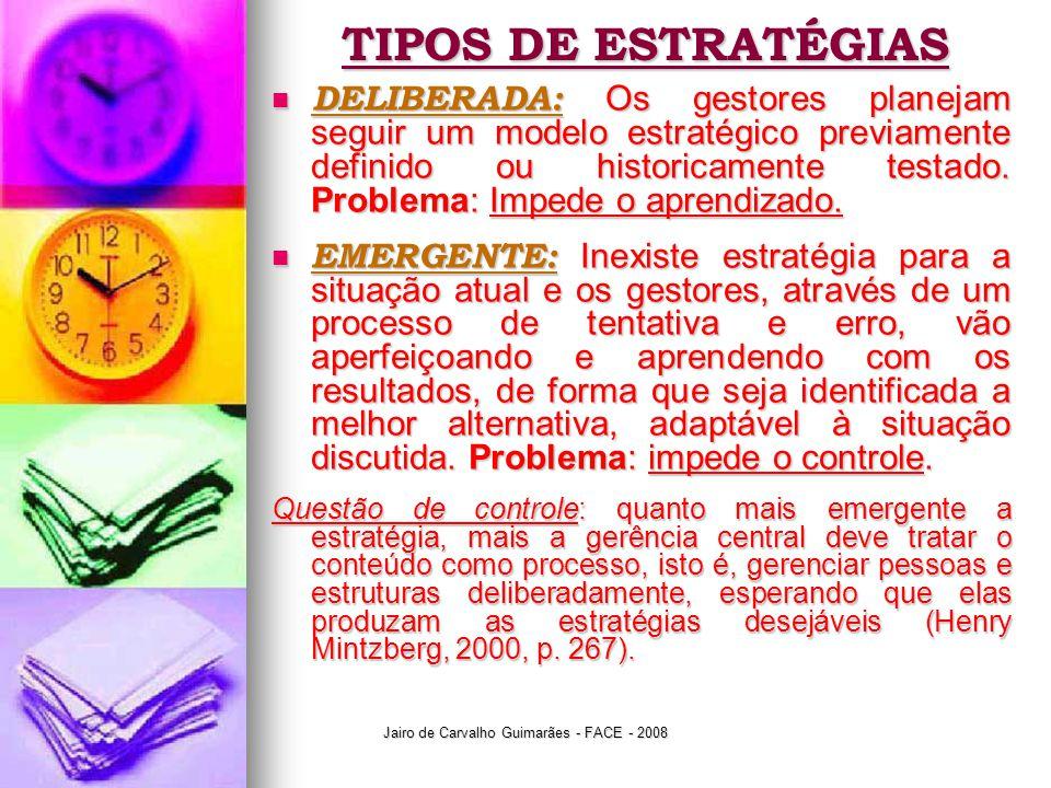 Jairo de Carvalho Guimarães - FACE - 2008 TIPOS DE ESTRATÉGIAS  DELIBERADA: Os gestores planejam seguir um modelo estratégico previamente definido ou