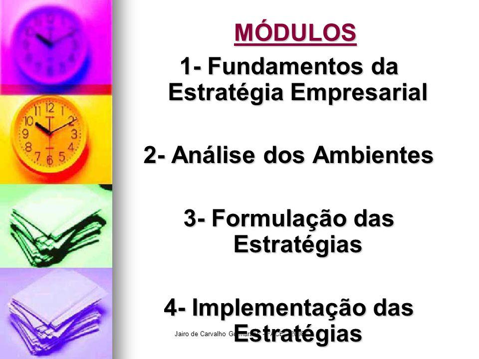 Jairo de Carvalho Guimarães - FACE - 2008 MÓDULOS 1- Fundamentos da Estratégia Empresarial 2- Análise dos Ambientes 3- Formulação das Estratégias 4- I