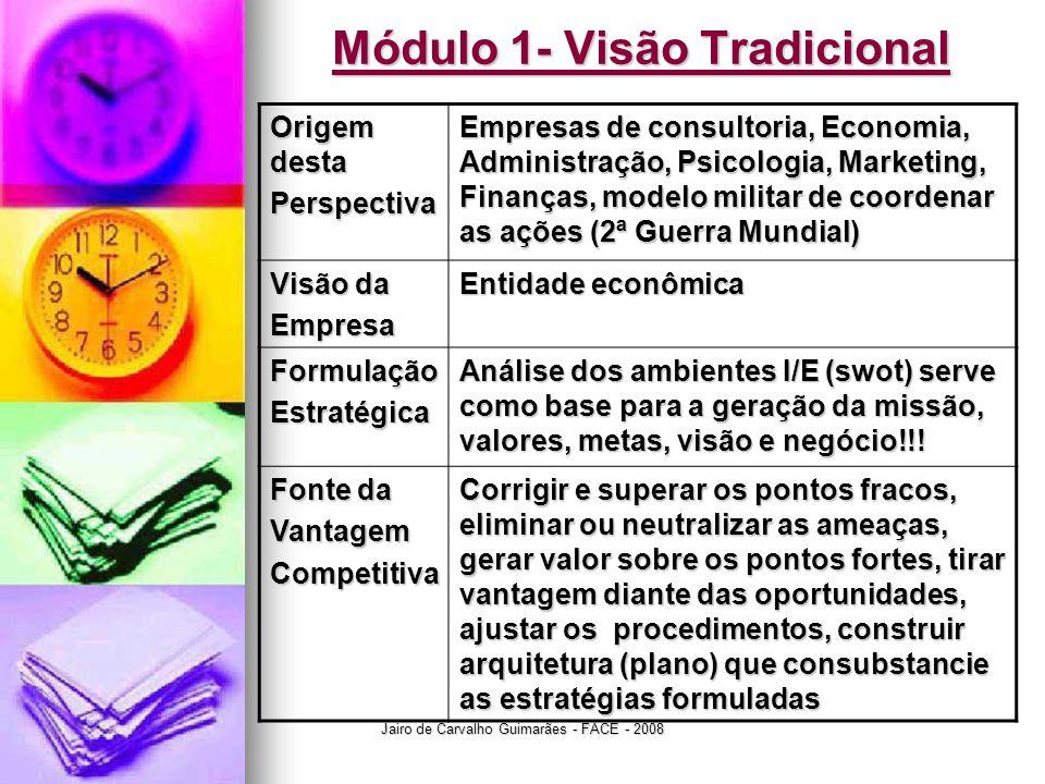 Jairo de Carvalho Guimarães - FACE - 2008 Módulo 1- Visão Tradicional Origem desta Perspectiva Empresas de consultoria, Economia, Administração, Psico