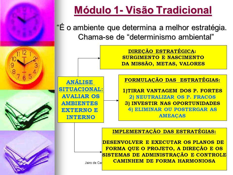 """Jairo de Carvalho Guimarães - FACE - 2008 Módulo 1- Visão Tradicional """"É o ambiente que determina a melhor estratégia. Chama-se de """"determinismo ambie"""