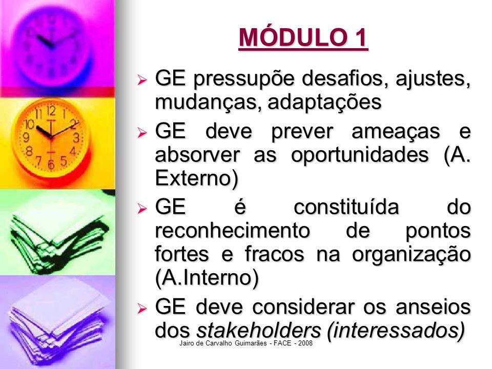 Jairo de Carvalho Guimarães - FACE - 2008 MÓDULO 1  GE pressupõe desafios, ajustes, mudanças, adaptações  GE deve prever ameaças e absorver as oport