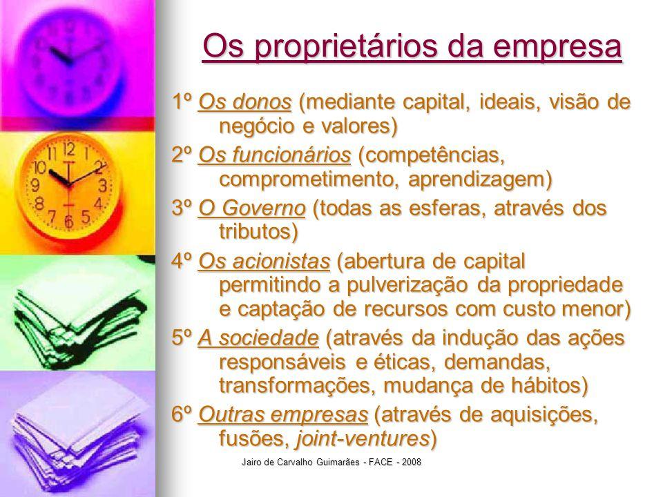 Jairo de Carvalho Guimarães - FACE - 2008 Os proprietários da empresa 1º Os donos (mediante capital, ideais, visão de negócio e valores) 2º Os funcion
