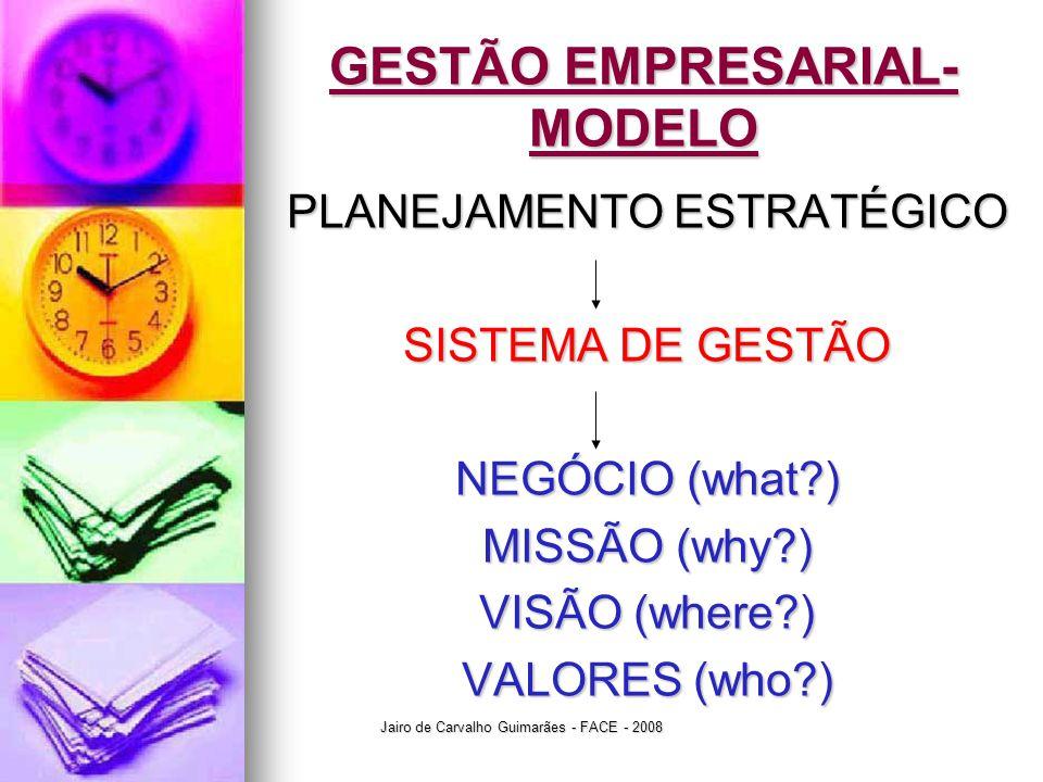Jairo de Carvalho Guimarães - FACE - 2008 GESTÃO EMPRESARIAL- MODELO PLANEJAMENTO ESTRATÉGICO SISTEMA DE GESTÃO NEGÓCIO (what?) MISSÃO (why?) VISÃO (w