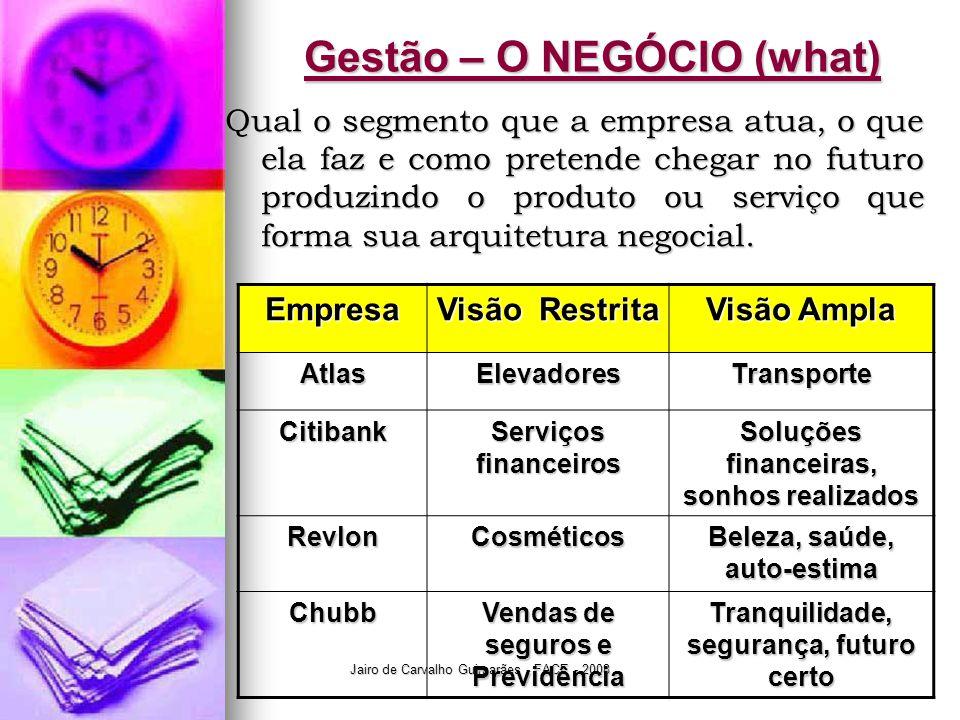Jairo de Carvalho Guimarães - FACE - 2008 Gestão – O NEGÓCIO (what) Qual o segmento que a empresa atua, o que ela faz e como pretende chegar no futuro produzindo o produto ou serviço que forma sua arquitetura negocial.
