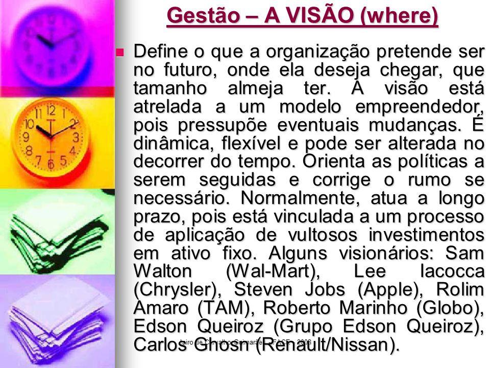Jairo de Carvalho Guimarães - FACE - 2008 Gestão – A VISÃO (where)  Define o que a organização pretende ser no futuro, onde ela deseja chegar, que ta