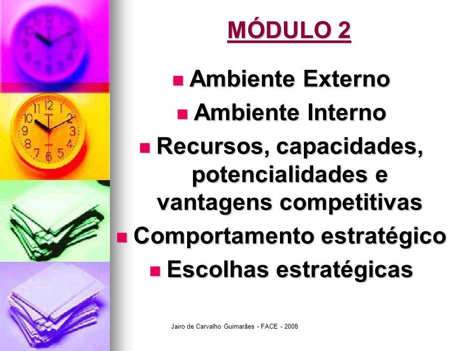 Jairo de Carvalho Guimarães - FACE - 2008 MÓDULO 2  Ambiente Externo  Ambiente Interno  Recursos, capacidades, potencialidades e vantagens competitivas  Comportamento estratégico  Escolhas estratégicas