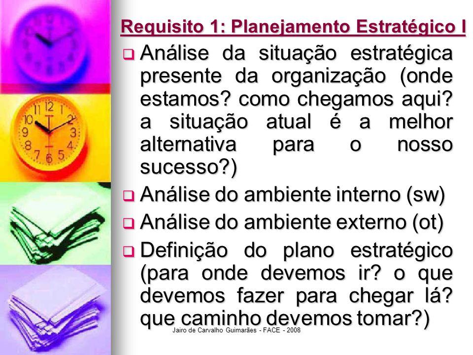 Jairo de Carvalho Guimarães - FACE - 2008 Requisito 1: Planejamento Estratégico I  Análise da situação estratégica presente da organização (onde esta
