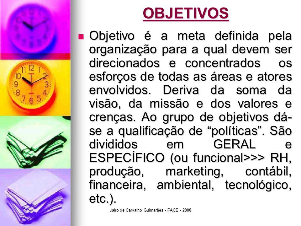 Jairo de Carvalho Guimarães - FACE - 2008OBJETIVOS  Objetivo é a meta definida pela organização para a qual devem ser direcionados e concentrados os