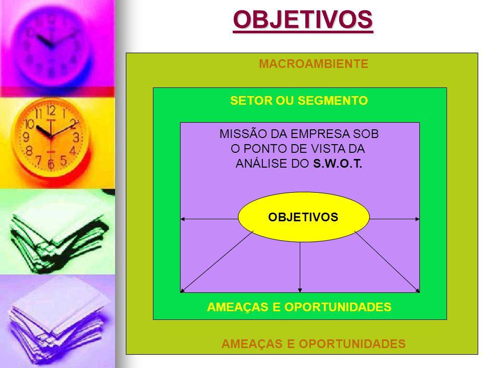 Jairo de Carvalho Guimarães - FACE - 2008OBJETIVOS MACROAMBIENTE AMEAÇAS E OPORTUNIDADES SETOR OU SEGMENTO AMEAÇAS E OPORTUNIDADES MISSÃO DA EMPRESA SOB O PONTO DE VISTA DA ANÁLISE DO S.W.O.T.