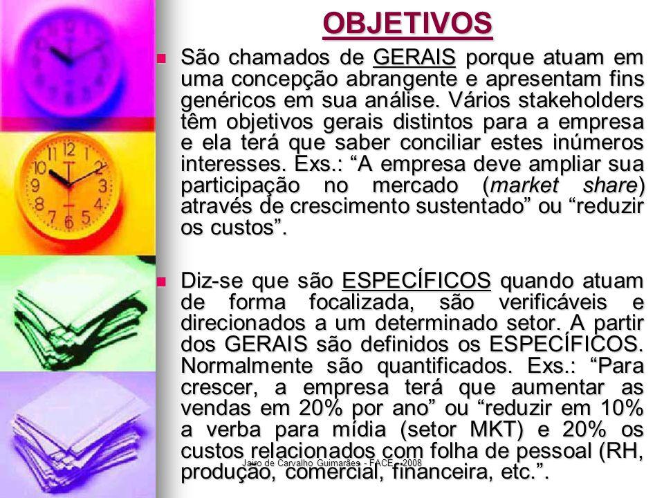 Jairo de Carvalho Guimarães - FACE - 2008OBJETIVOS  São chamados de GERAIS porque atuam em uma concepção abrangente e apresentam fins genéricos em su