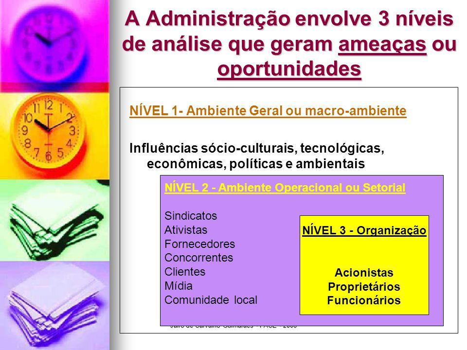 Jairo de Carvalho Guimarães - FACE - 2008 A Administração envolve 3 níveis de análise que geram ameaças ou oportunidades NÍVEL 1- Ambiente Geral ou ma