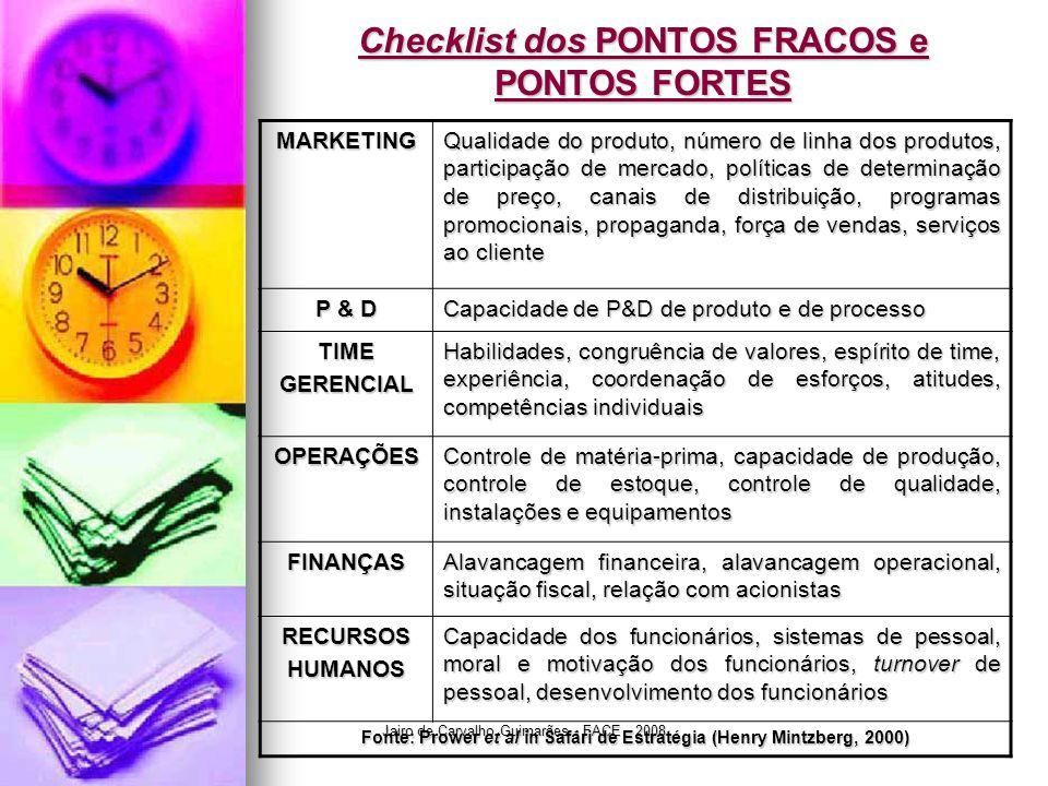 Jairo de Carvalho Guimarães - FACE - 2008 Checklist dos PONTOS FRACOS e PONTOS FORTES MARKETING Qualidade do produto, número de linha dos produtos, pa